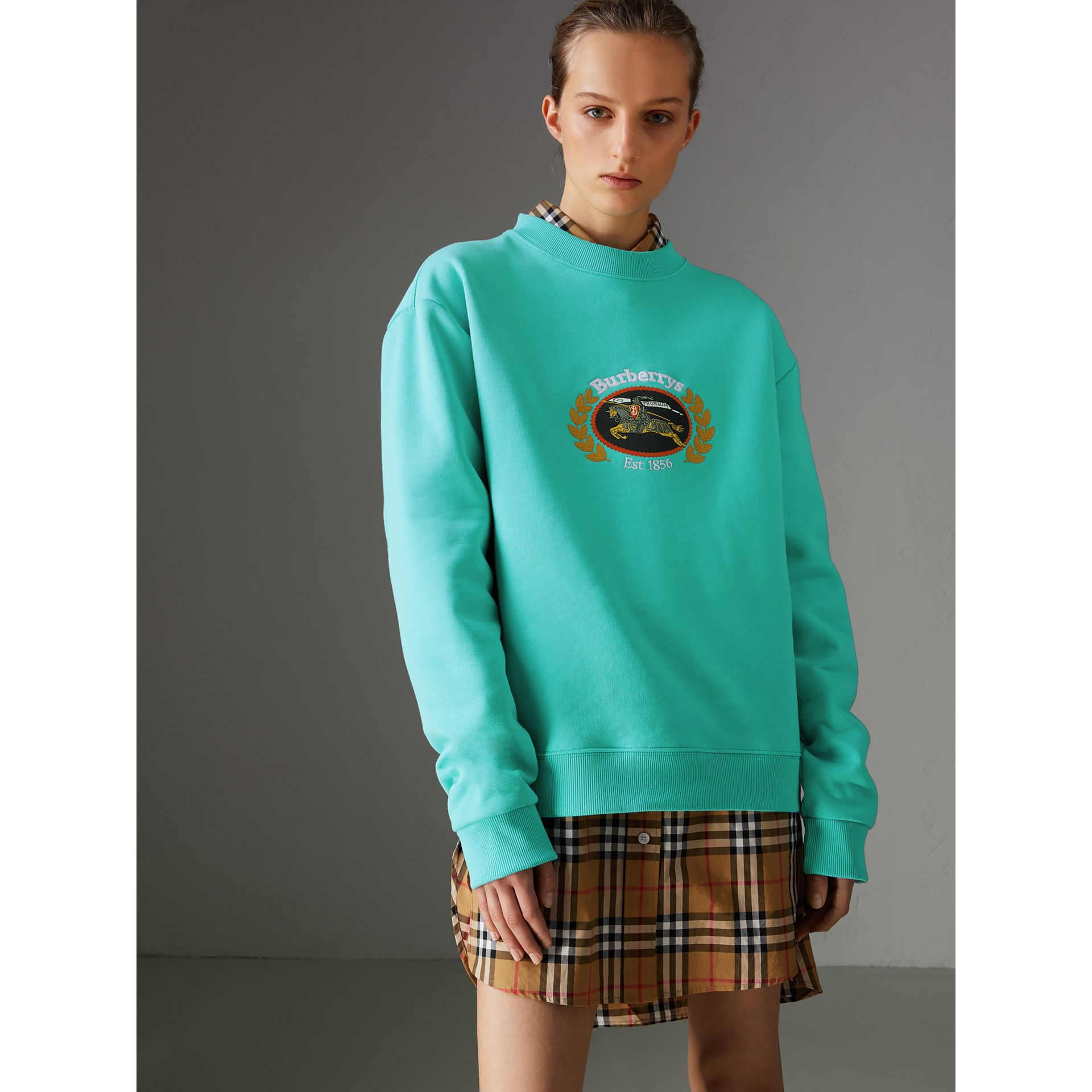 Reissued Jersey Sweatshirt in Aqua - Women | Burberry Canada - gallery image 4