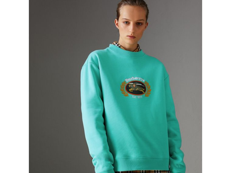 Reissued Jersey Sweatshirt in Aqua - Women | Burberry United Kingdom - cell image 4