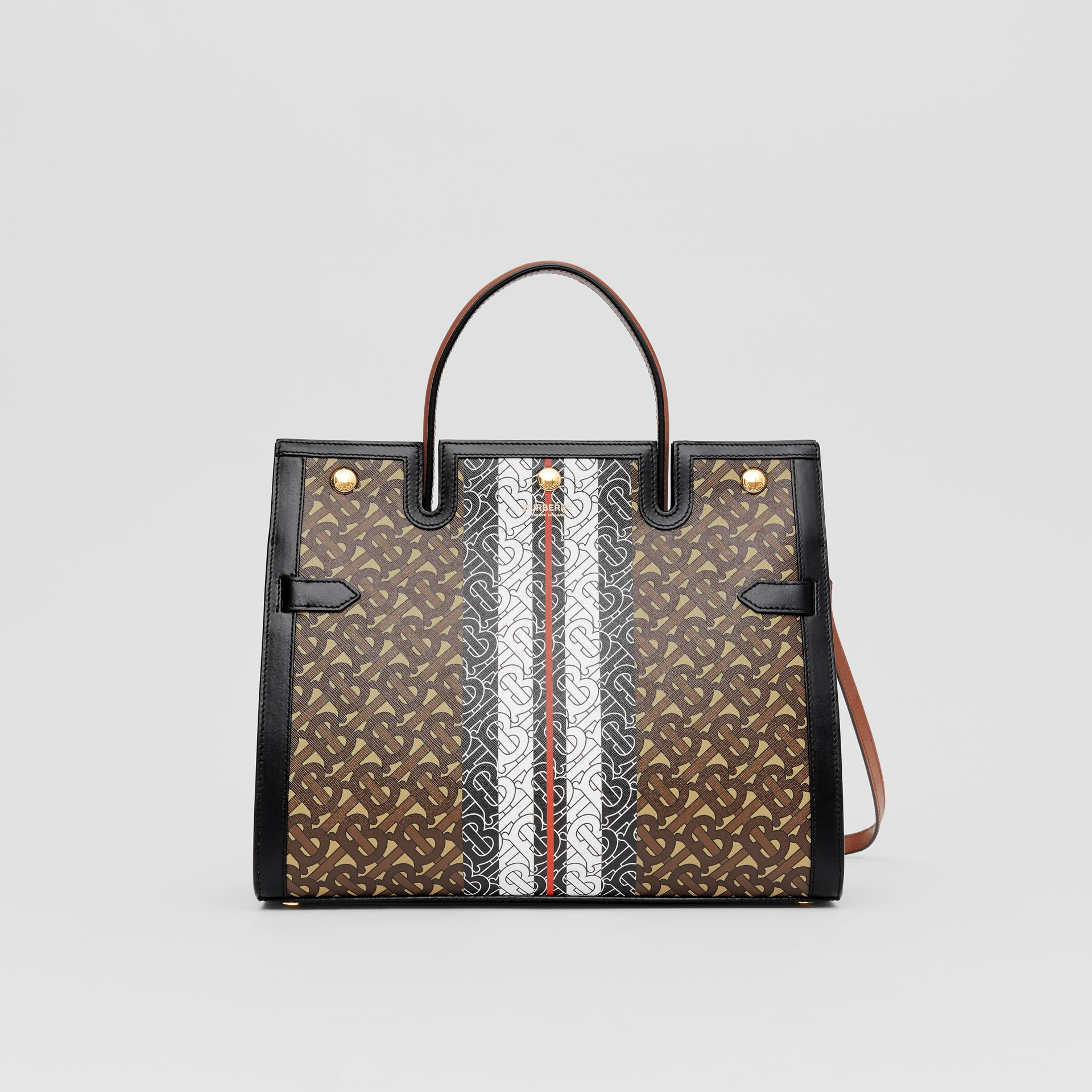 Medium Monogram Stripe E-canvas Title Bag in Bridle Brown - Women | Burberry - gallery image 0