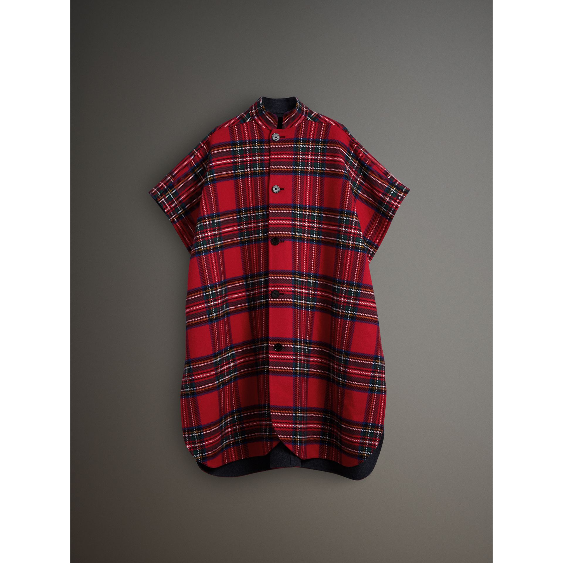 Reversible Tartan Wool Cashmere Poncho in Bright Red/dark Grey - Men | Burberry - gallery image 4