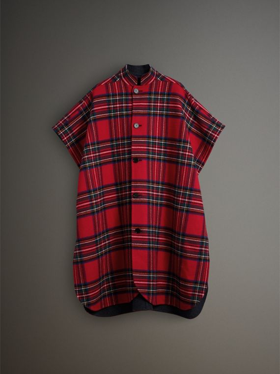 Reversible Tartan Wool Cashmere Poncho in Bright Red/dark Grey - Men | Burberry - cell image 3