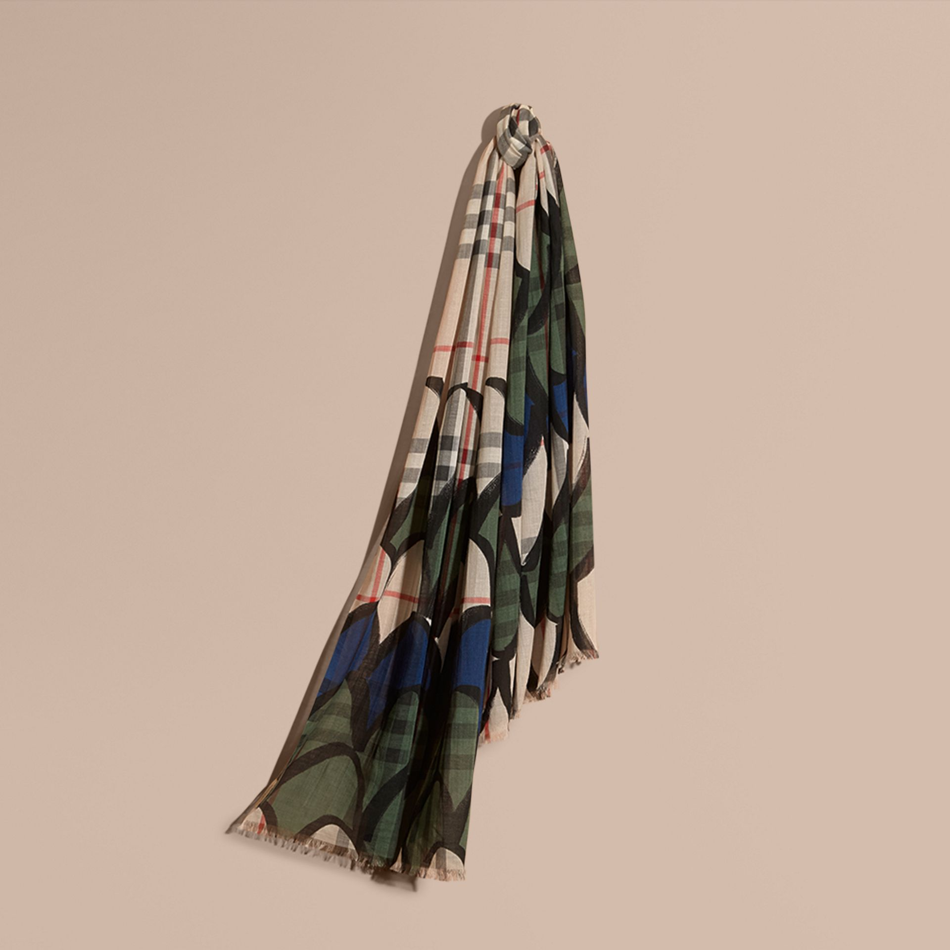 Check Wool Silk Scarf with Trompe L'oeil Print in Sage Green - Women | Burberry - gallery image 1
