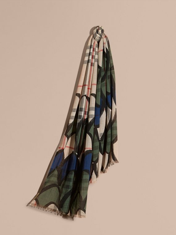 Check Wool Silk Scarf with Trompe L'oeil Print Sage Green