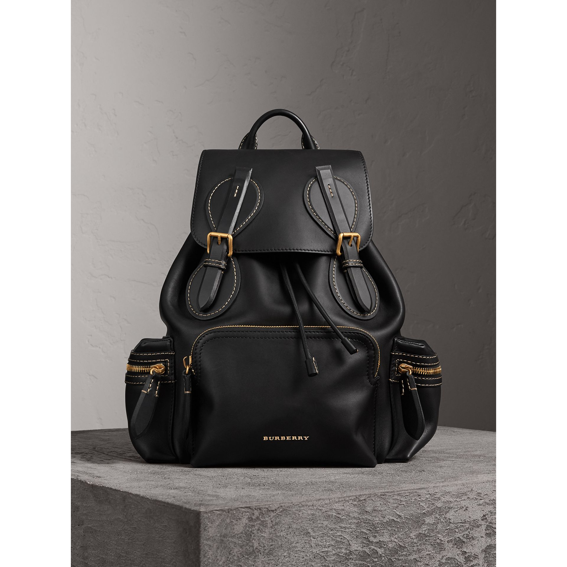 The Large Rucksack in Topstitched Leather in Black | Burberry - gallery image 7