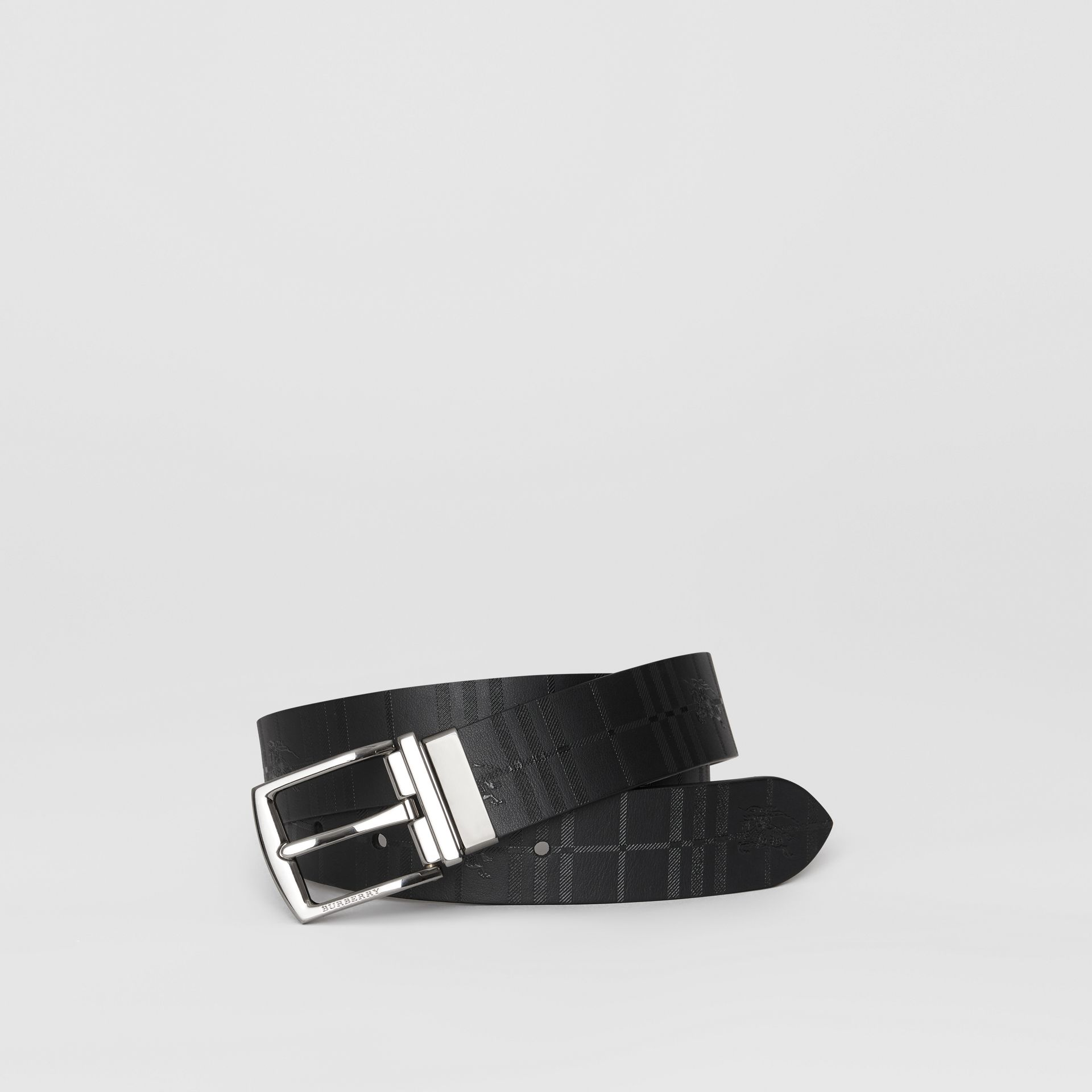 Reversible EKD Check Leather Belt in Chocolate/black - Men | Burberry - gallery image 0