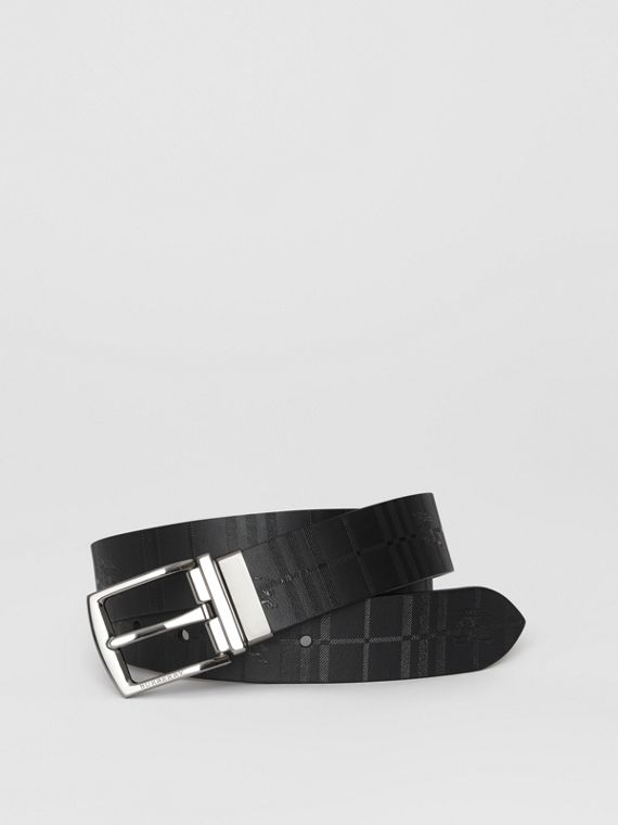 Reversible EKD Check Leather Belt in Chocolate/black
