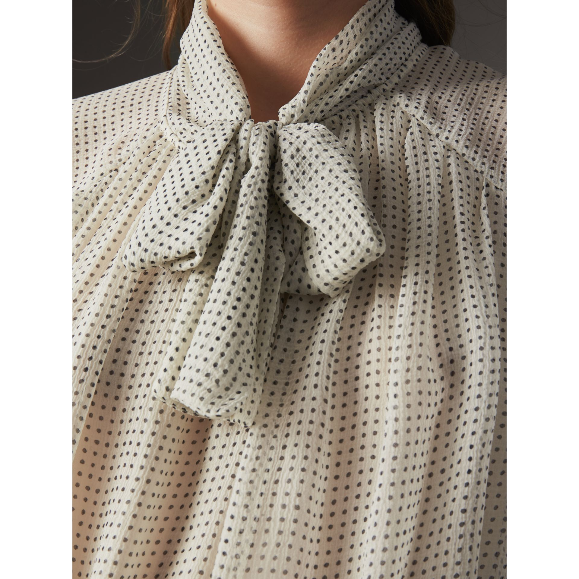 Pussy-bow Dot Print Silk Crepon Blouse in Natural White/navy - Women | Burberry - gallery image 2