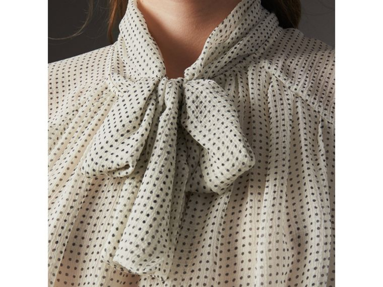 Pussy-bow Dot Print Silk Crepon Blouse in Natural White/navy - Women | Burberry - cell image 1