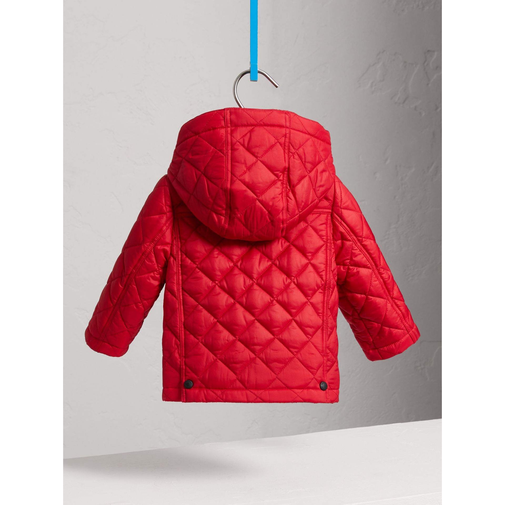 Check Detail Diamond-quilted Jacket in Bright Cherry Red | Burberry United Kingdom - gallery image 3
