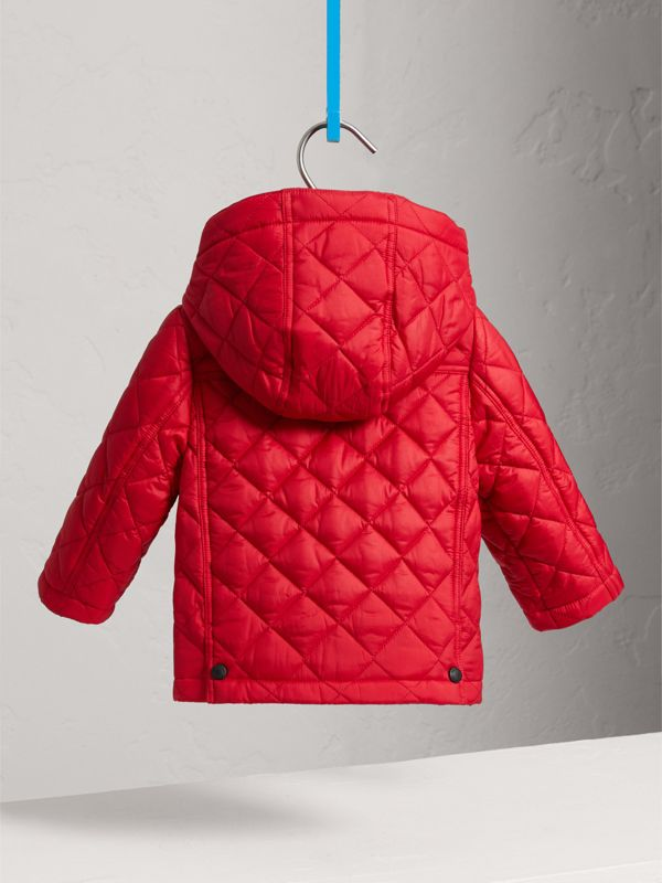 Check Detail Diamond-quilted Jacket in Bright Cherry Red | Burberry - cell image 3