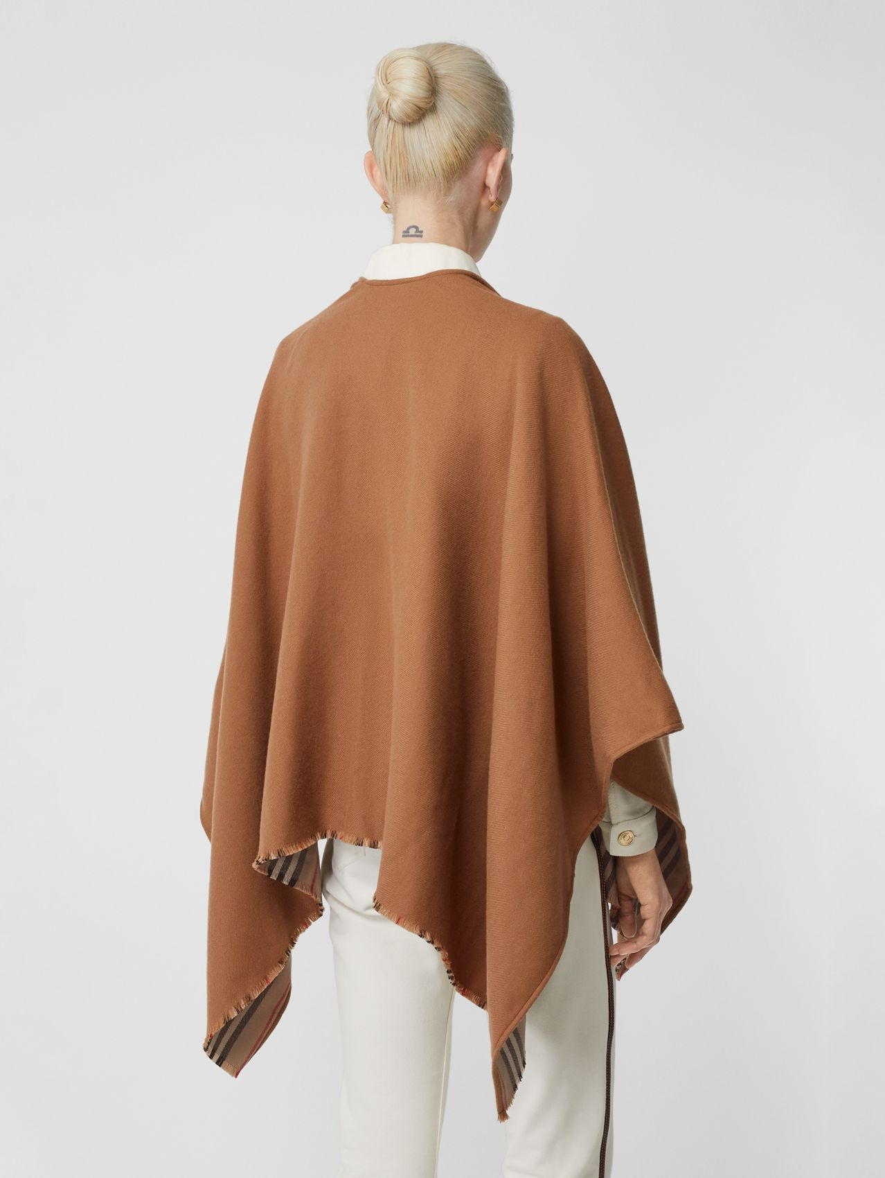 Icon Stripe Detail Wool Cape in Flaxseed