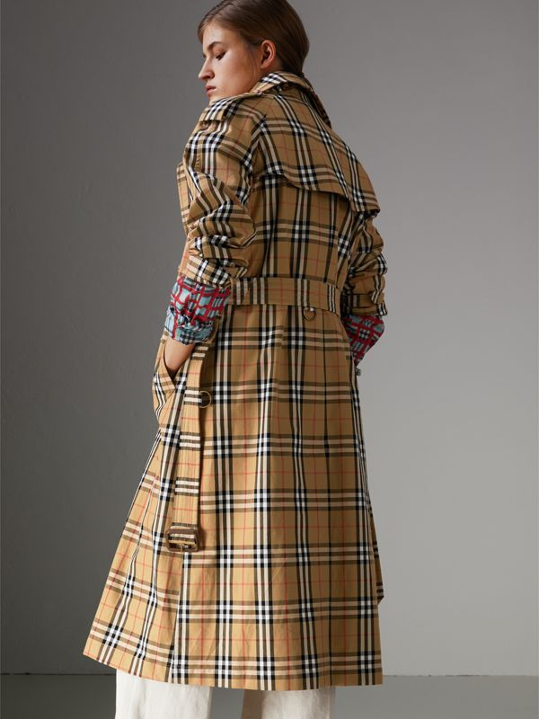 Vintage Check Cotton Trench Coat in Antique Yellow - Women | Burberry Hong Kong - cell image 2