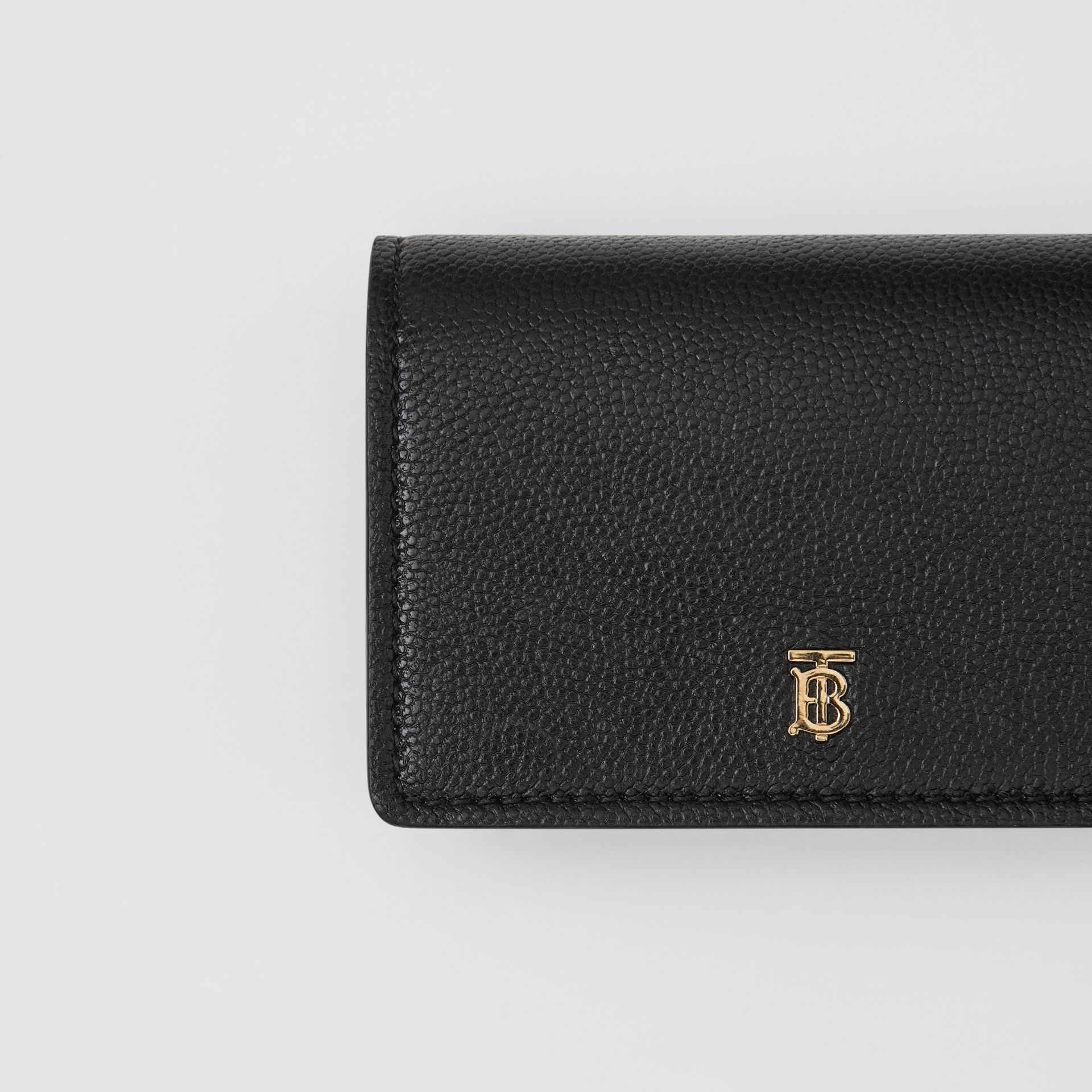 Grainy Leather Card Case with Detachable Strap in Black - Women | Burberry - gallery image 1