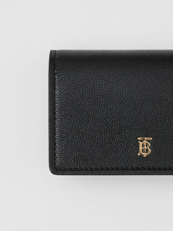 Grainy Leather Card Case with Detachable Strap in Black - Women | Burberry - cell image 1