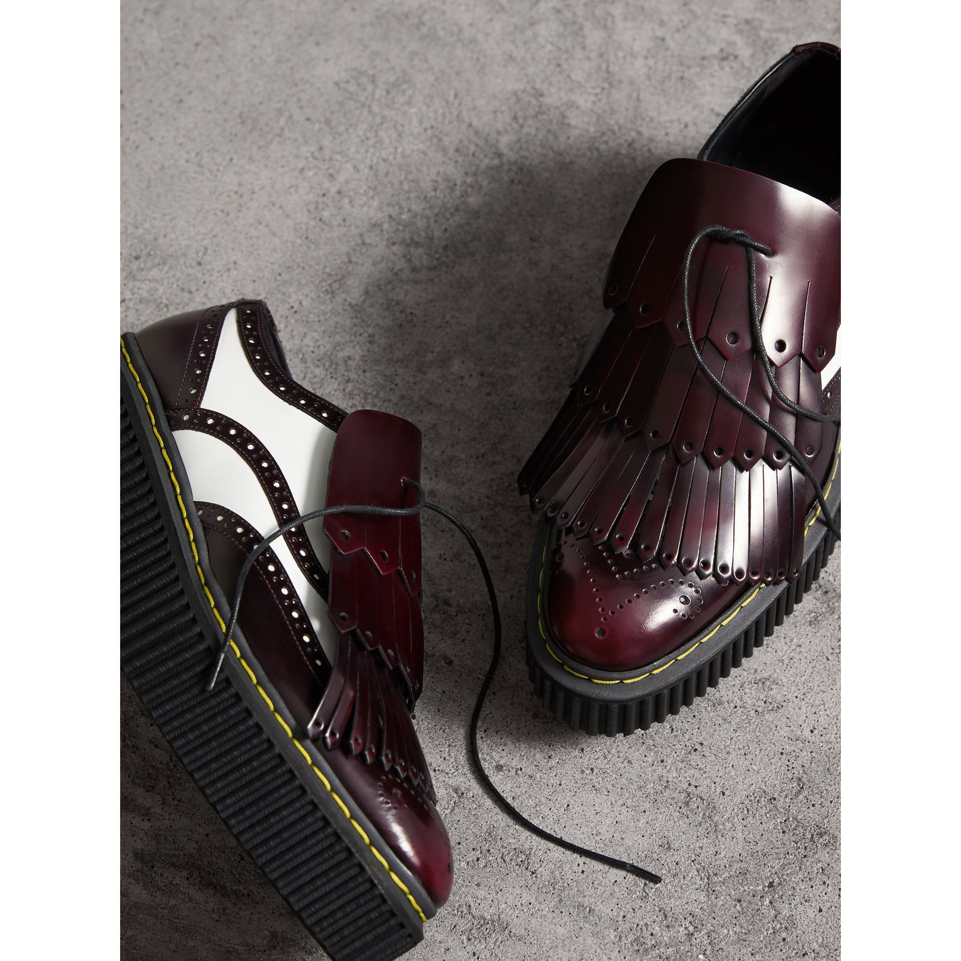 Two-tone Lace-up Kiltie Fringe Leather Shoes in Bordeaux - Women | Burberry - gallery image 5