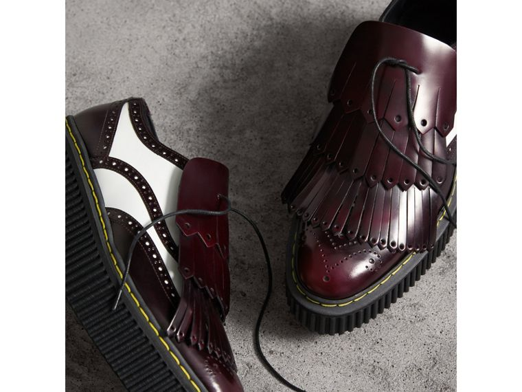 Two-tone Lace-up Kiltie Fringe Leather Shoes in Bordeaux - Women | Burberry - cell image 4