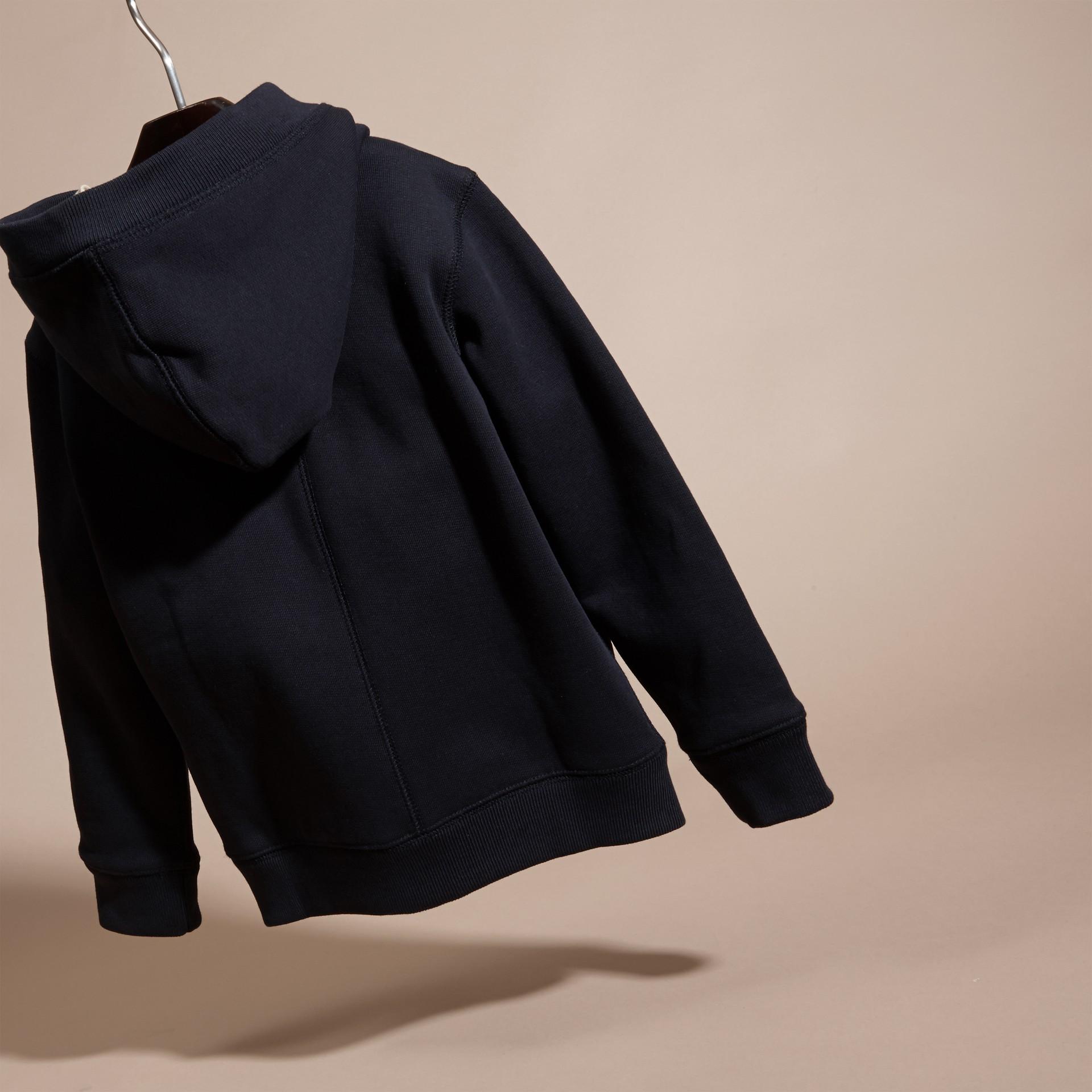 Navy scuro Felpa con cappuccio in cotone Navy Scuro - immagine della galleria 4