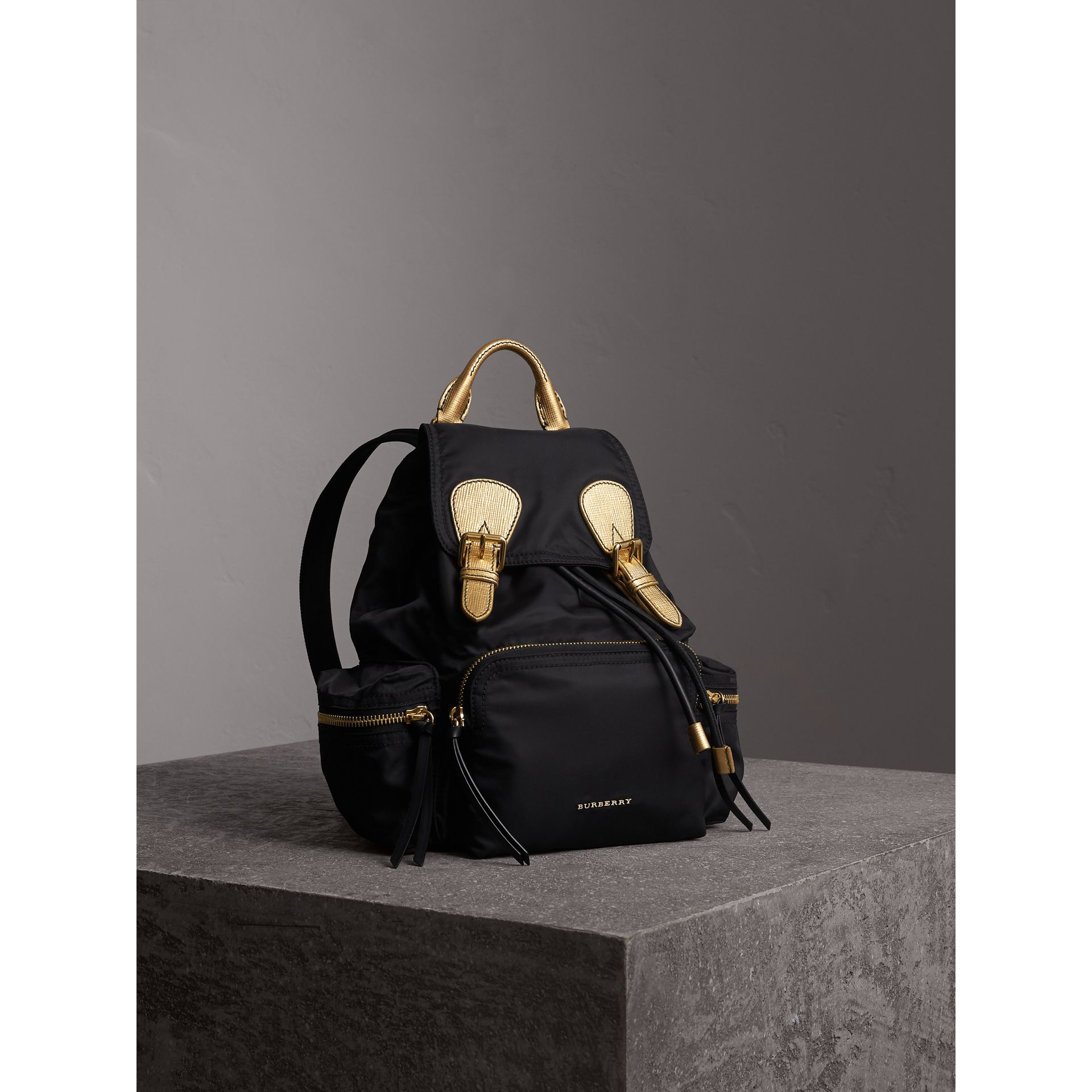 The Medium Rucksack in Two-tone Nylon and Leather in Black/gold - Women | Burberry - gallery image 7