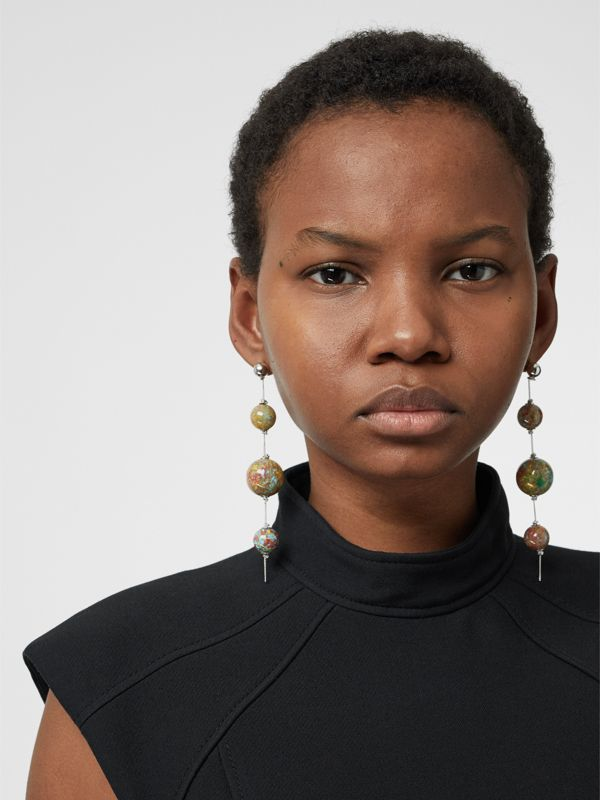 Marbled Resin Palladium-plated Drop Earrings in Palladio/confetti - Women | Burberry Australia - cell image 2