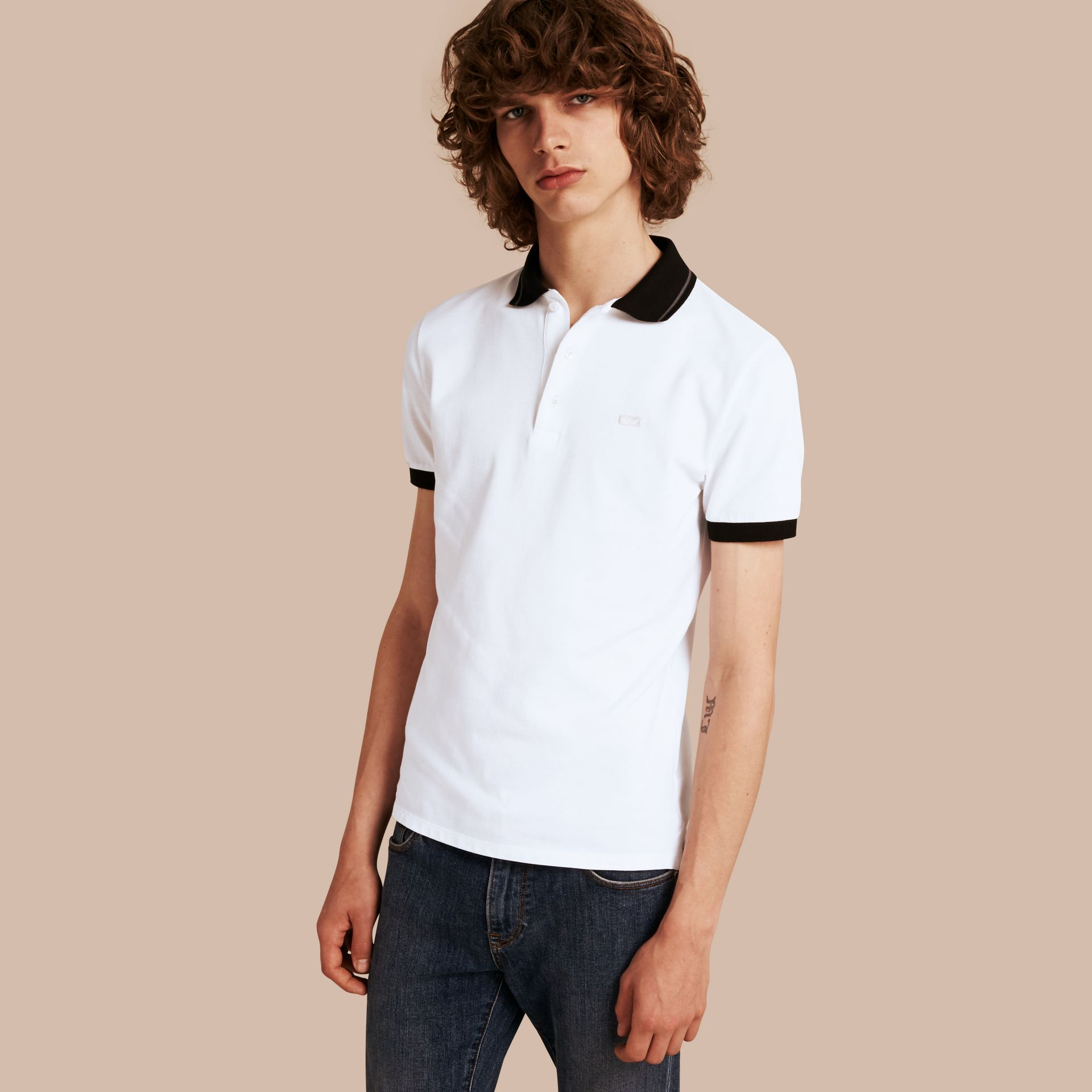 White/mid grey Contrast Trim Cotton Piqué Polo Shirt White/mid Grey - gallery image 1