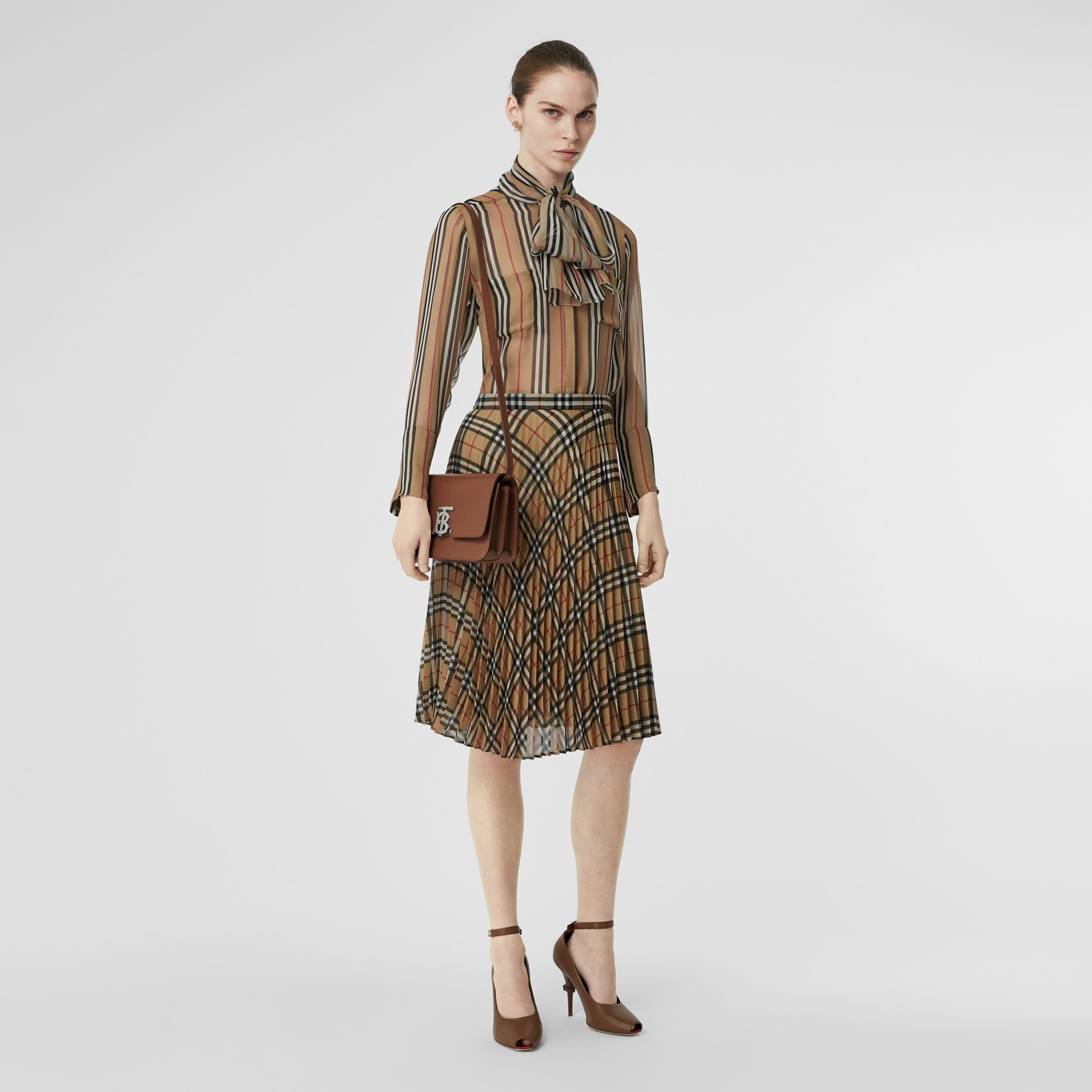 Vintage Check Chiffon Pleated Skirt in Archive Beige - Women | Burberry - 1