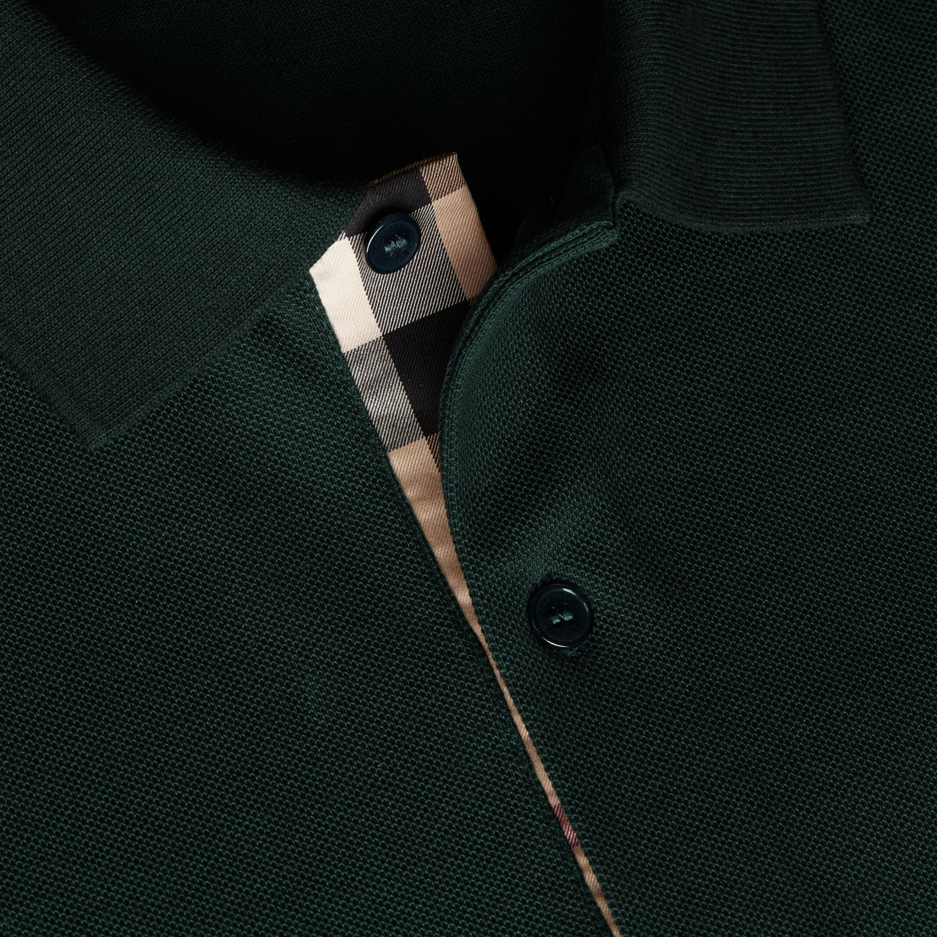 Check Placket Cotton Piqué Polo Shirt Racing Green - gallery image 2