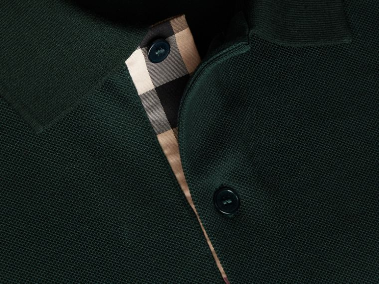 Check Placket Cotton Piqué Polo Shirt Racing Green - cell image 1