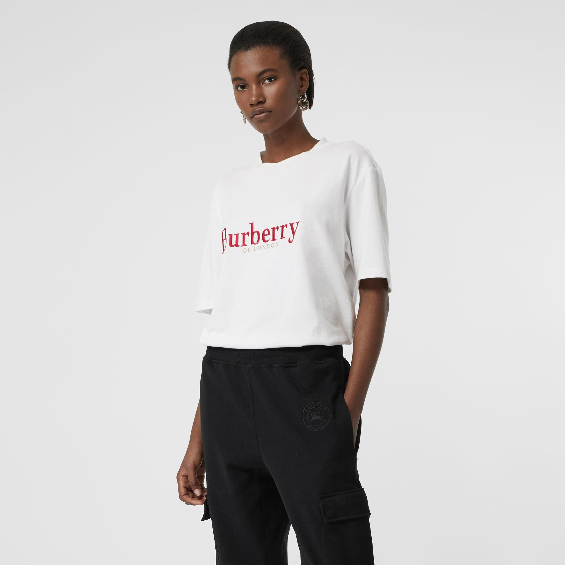 Embroidered Archive Logo Cotton T-shirt in White/red - Women | Burberry - gallery image 0