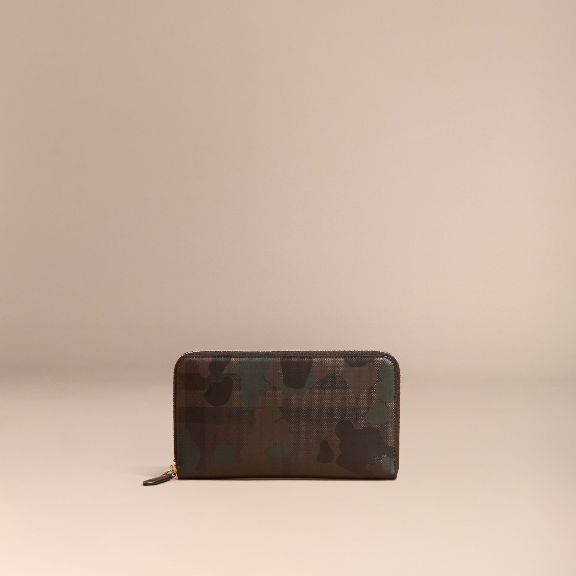 Chocolate/camouflage Camouflage and London Check Ziparound Wallet - gallery image 6