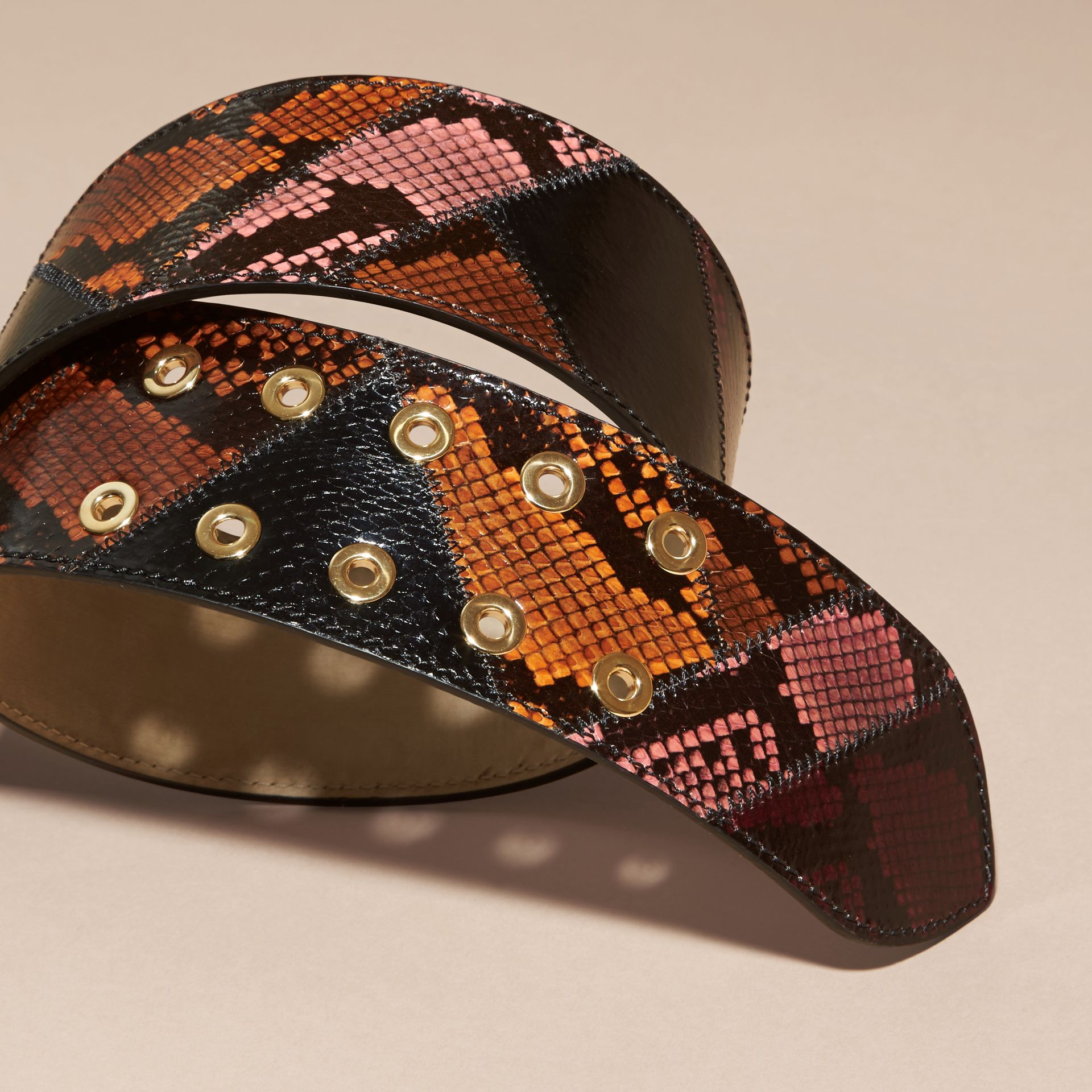 Snakeskin Intarsia Waist Belt in Peony - Women | Burberry - gallery image 3