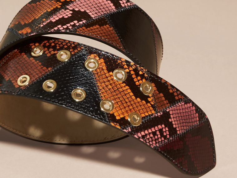 Snakeskin Intarsia Waist Belt in Peony - Women | Burberry - cell image 2