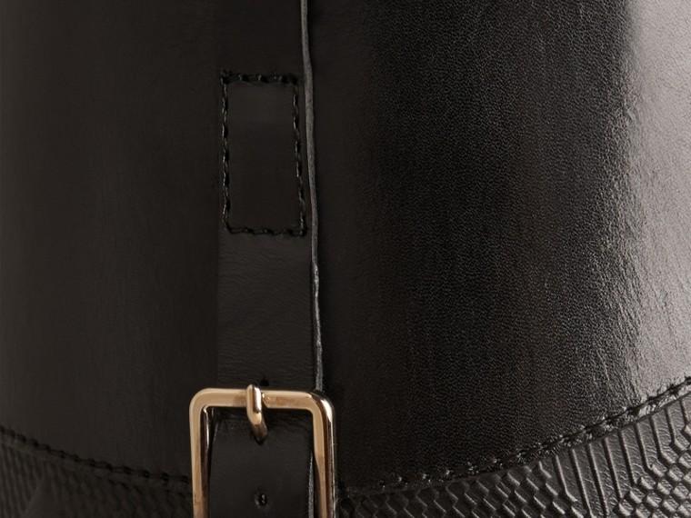 Preto Botas de equitação de couro com detalhe xadrez - cell image 1