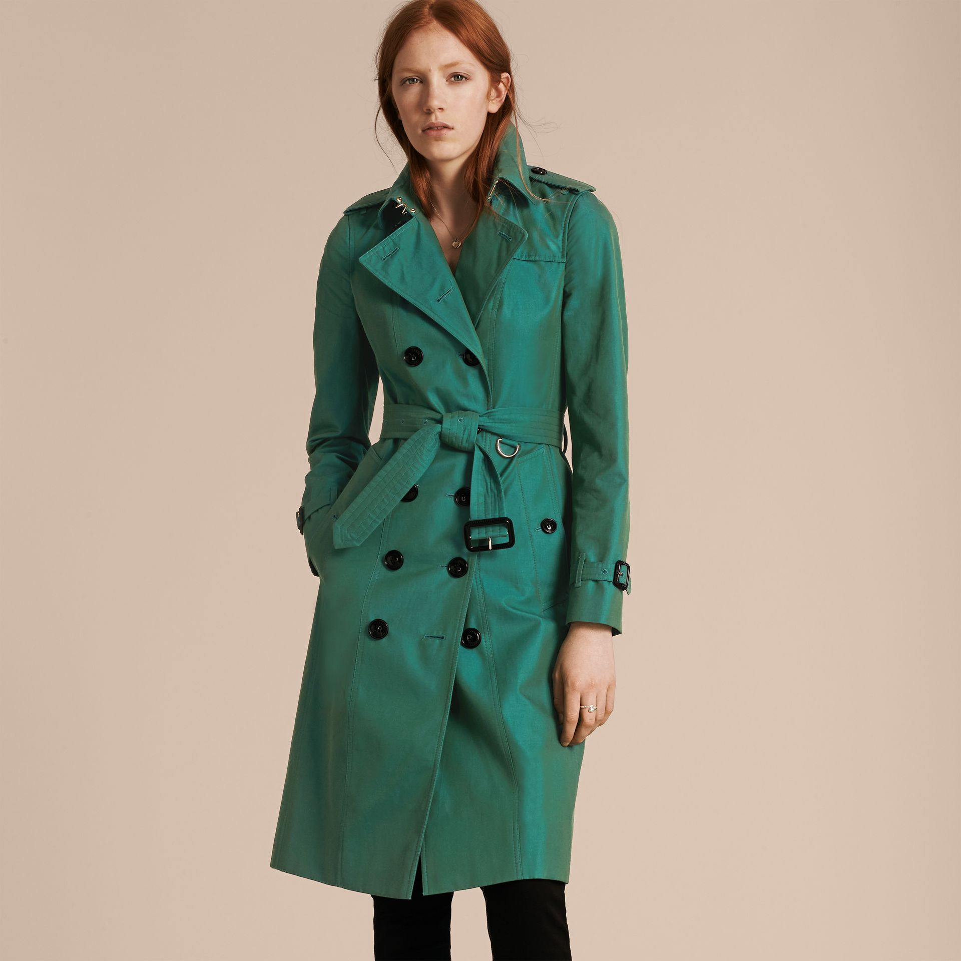 Aqua green Cotton Gabardine Trench Coat Aqua Green - gallery image 1
