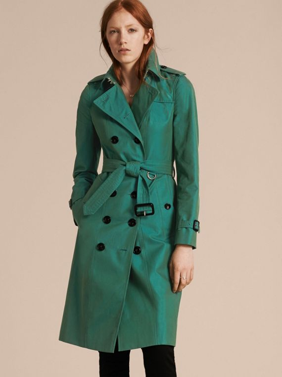 Cotton Gabardine Trench Coat Aqua Green