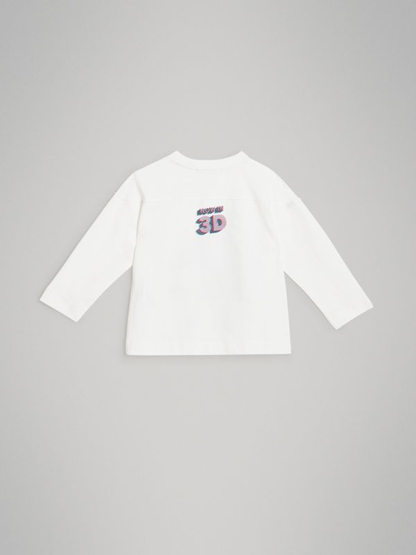 Long-sleeve 3D Astronaut Print Cotton Top in White | Burberry Australia - cell image 3