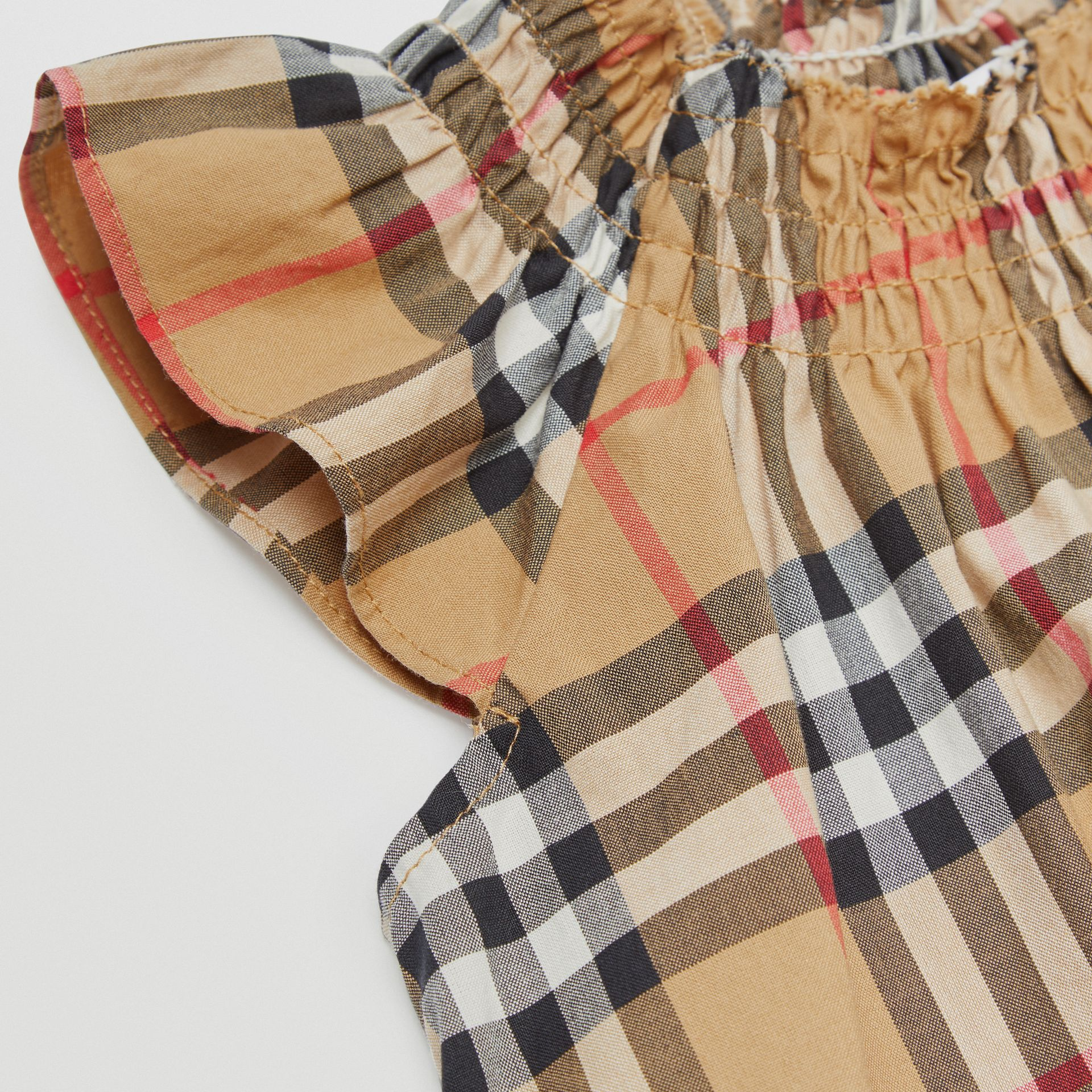 Smocked Vintage Check Cotton Dress in Antique Yellow - Children | Burberry - gallery image 1