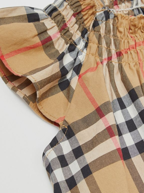 Smocked Vintage Check Cotton Dress in Antique Yellow - Children | Burberry - cell image 1