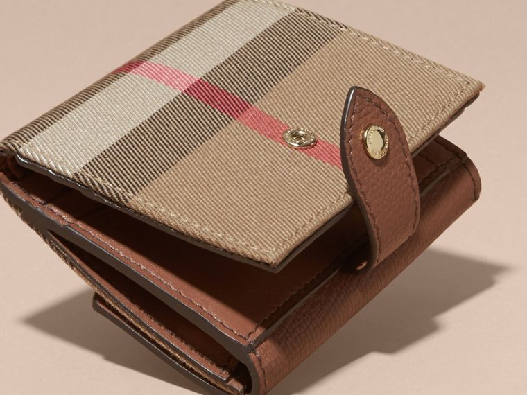 House Check and Leather Wallet in Tan - Women | Burberry - cell image 4