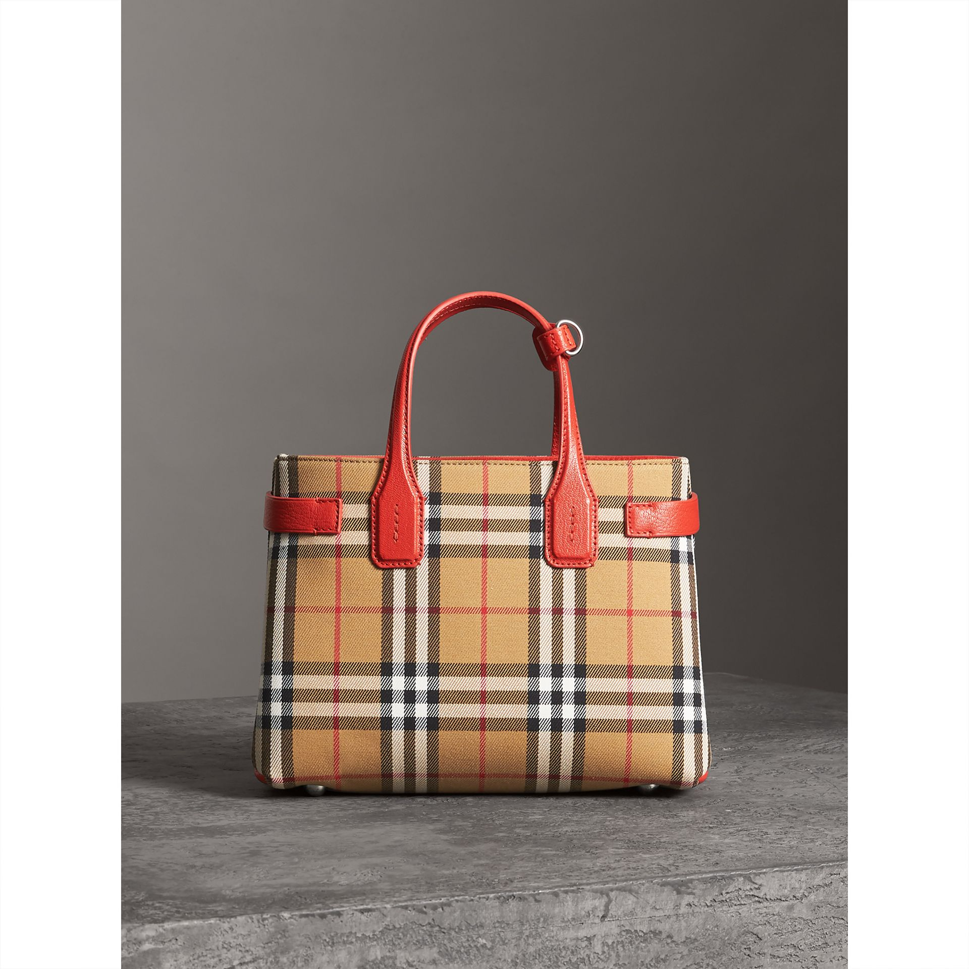 The Small Banner in Vintage Check and Leather in Bright Red - Women | Burberry United Kingdom - gallery image 6