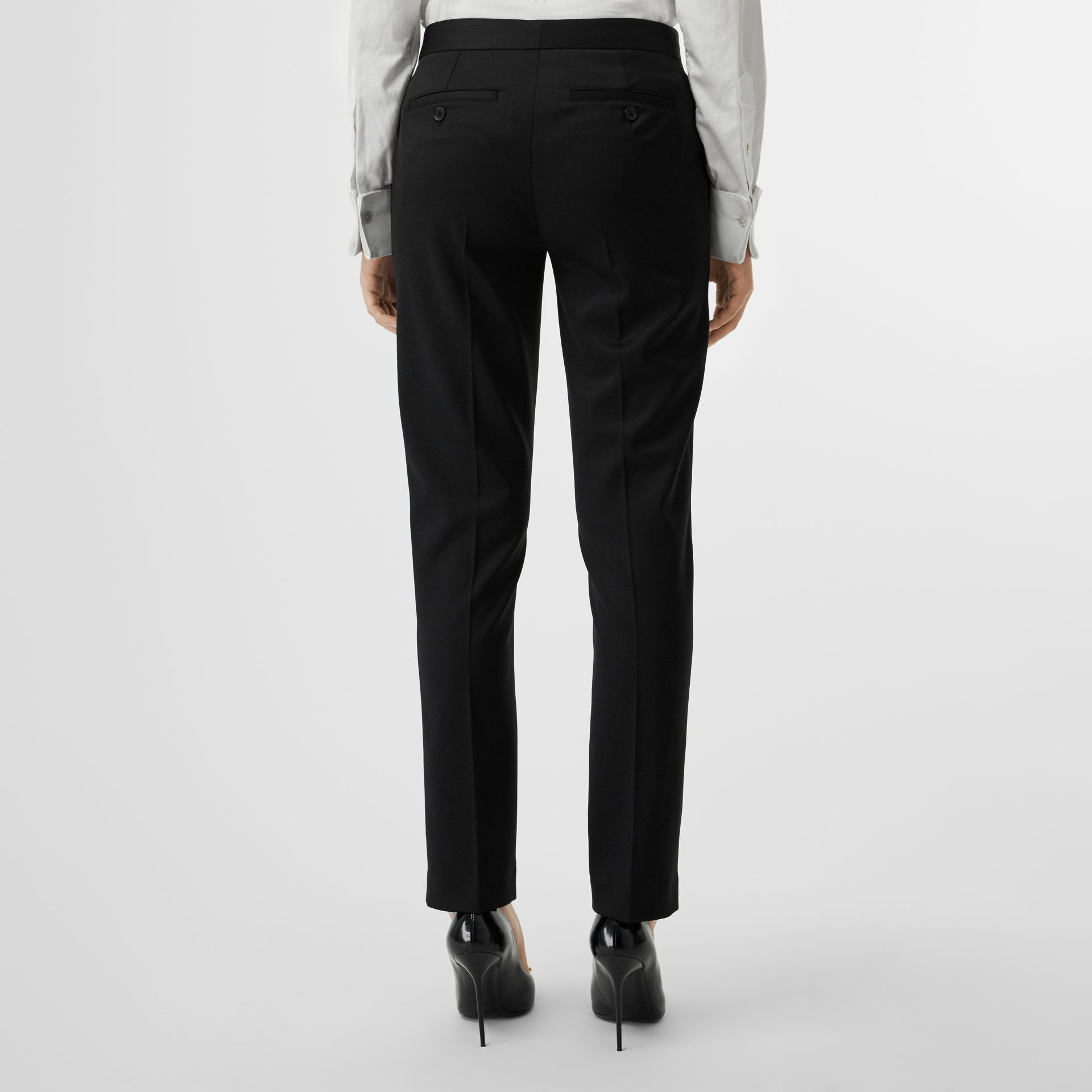 Straight Fit Wool Tailored Trousers in Black - Women | Burberry - gallery image 2