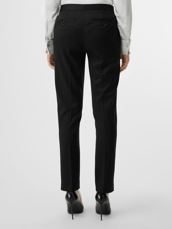 Straight Fit Wool Tailored Trousers in Black - Women | Burberry United Kingdom - cell image 2