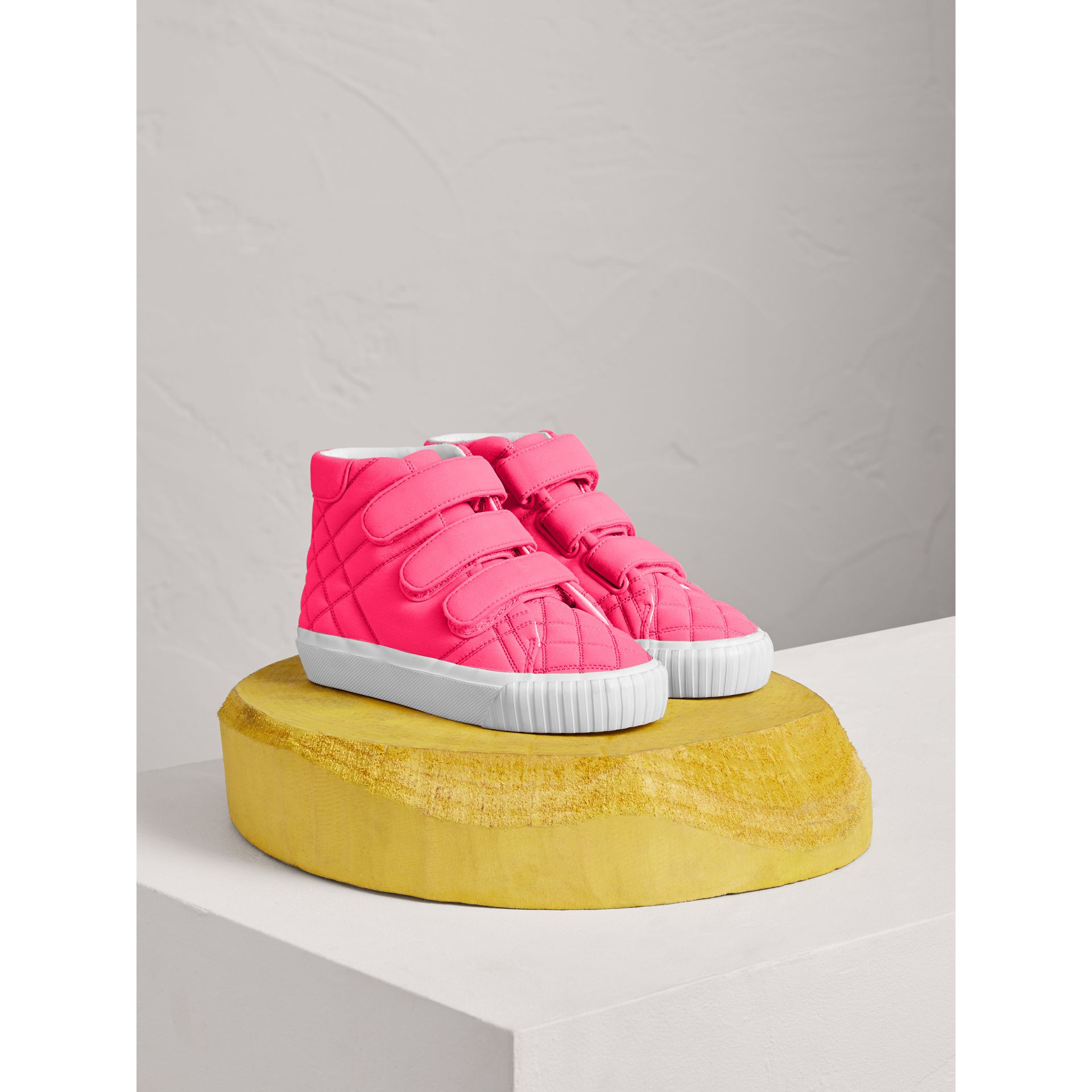 Quilted High-top Trainers in Neon Pink | Burberry - gallery image 0