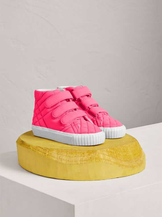 Quilted High-top Sneakers in Neon Pink