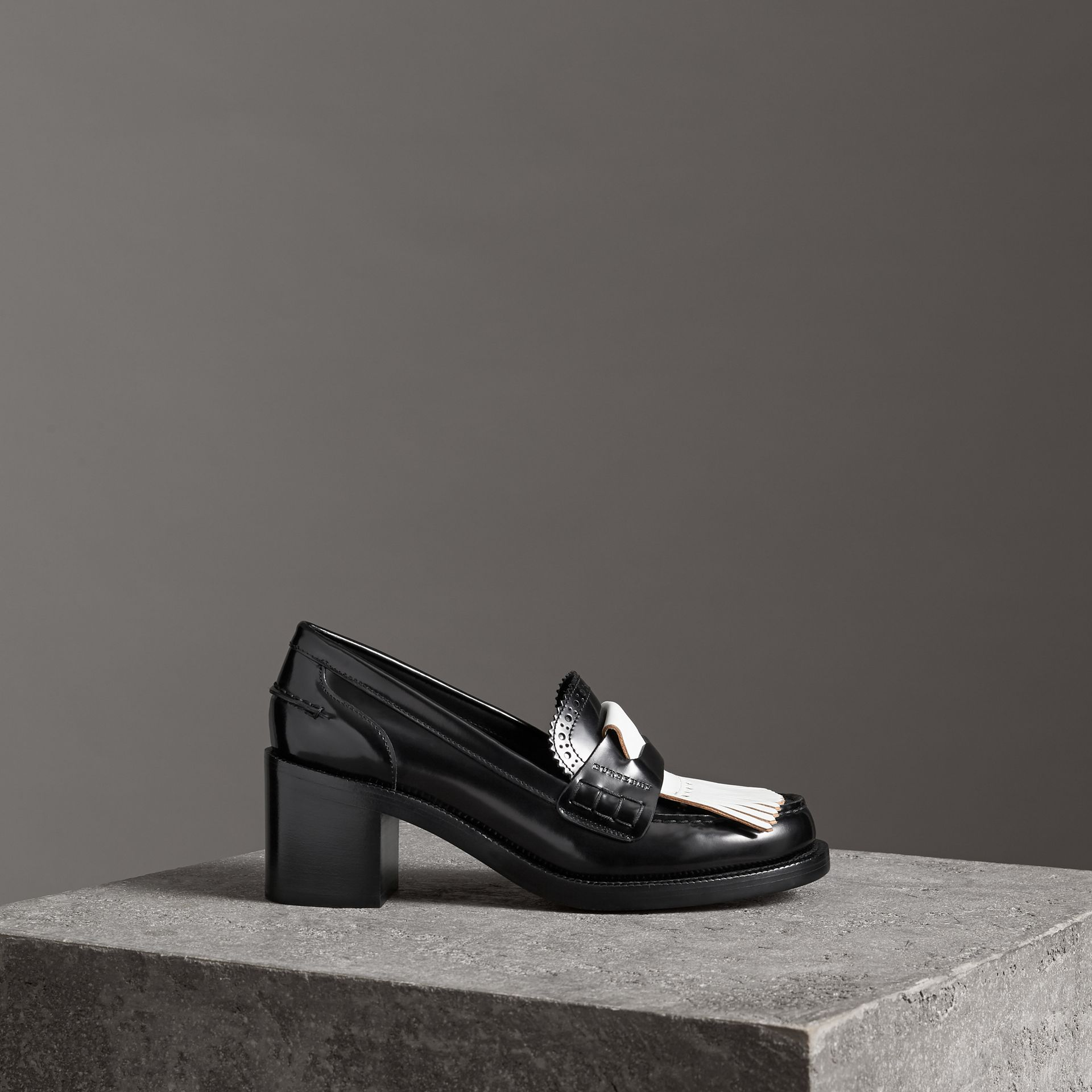 Contrast Kiltie Fringe Leather Block-heel Loafers in Black - Women | Burberry - gallery image 0