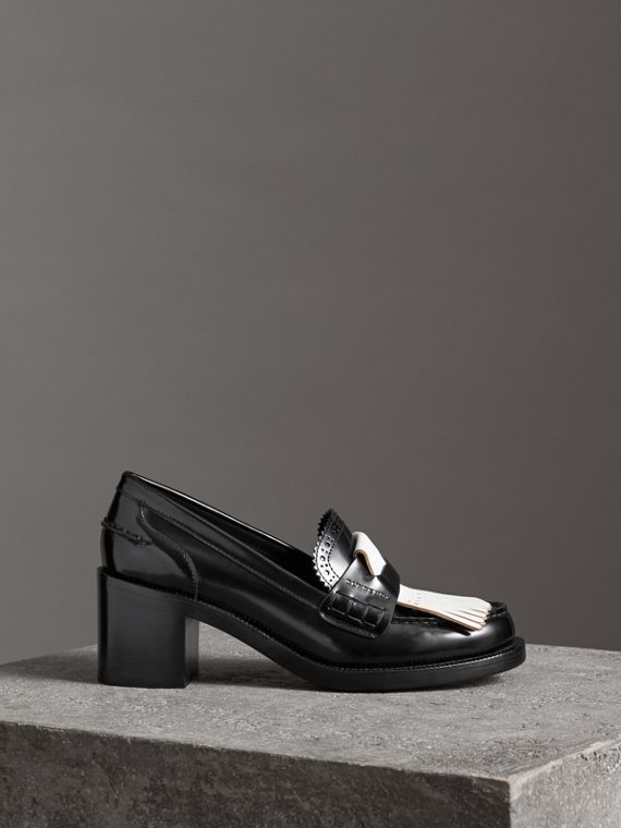 Contrast Kiltie Fringe Leather Block-heel Loafers in Black