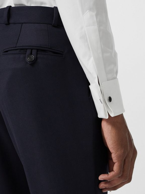 Slim Fit Wool Twill Tailored Trousers in Navy - Men | Burberry Canada - cell image 1