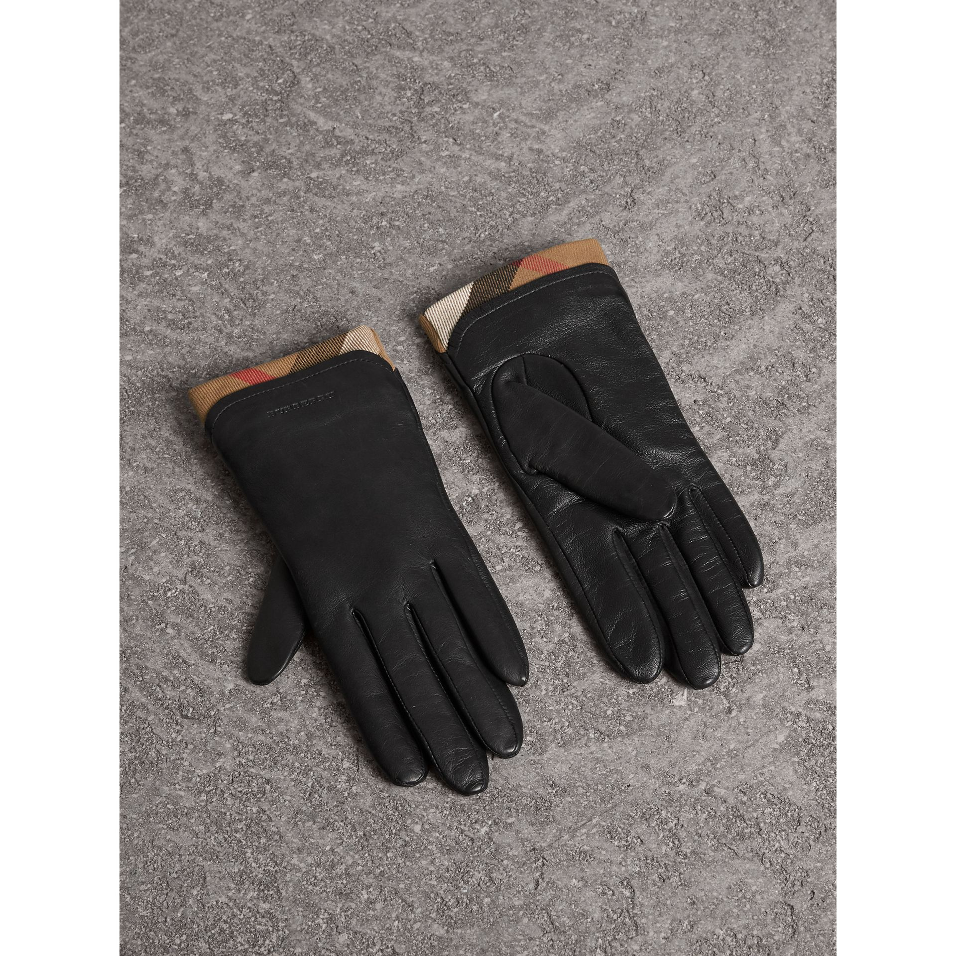 Check Trim Leather Touch Screen Gloves in Black - Women | Burberry - gallery image 1