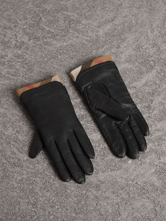 Check Trim Leather Touch Screen Gloves in Black