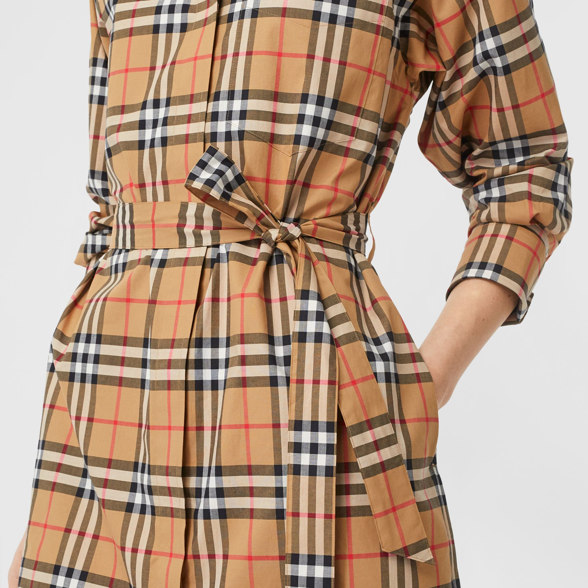 Vintage Check Cotton Tie-waist Shirt Dress in Antique Yellow - Women | Burberry - gallery image 1