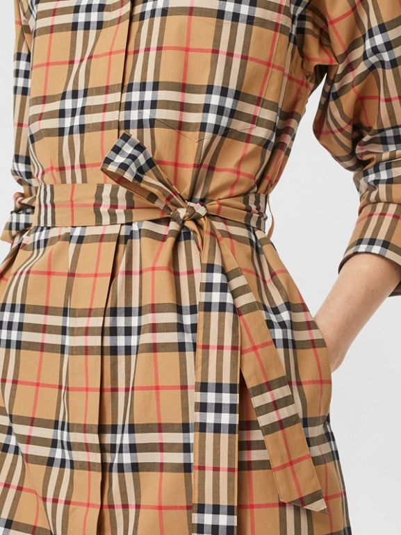 Vintage Check Cotton Tie-waist Shirt Dress in Antique Yellow - Women | Burberry Singapore - cell image 1